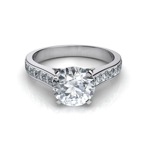 princess cut channel set engagement ring