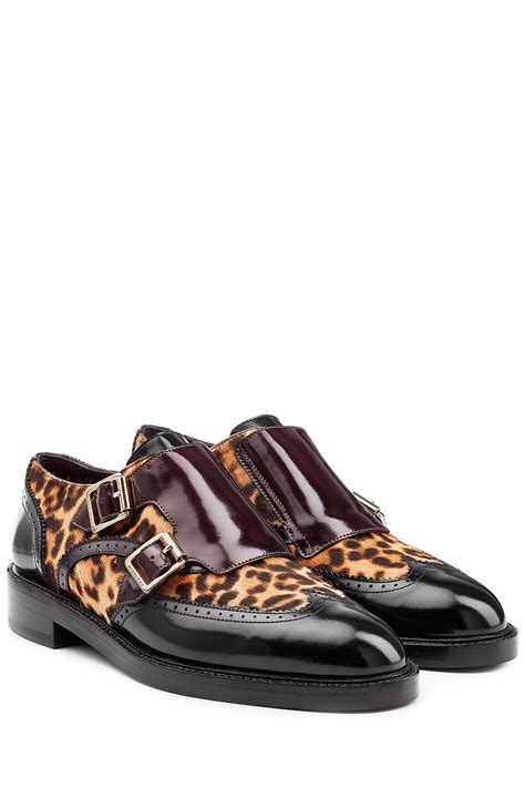 leopard loafers lyst burberry leather loafers with leopard printed calf