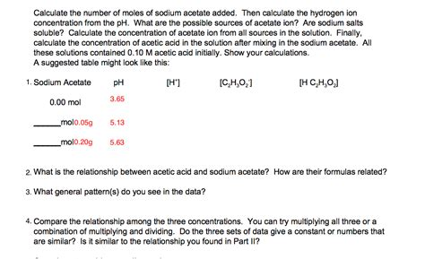 the pattern you see on acid calculate the number of moles of sodium acetate ad