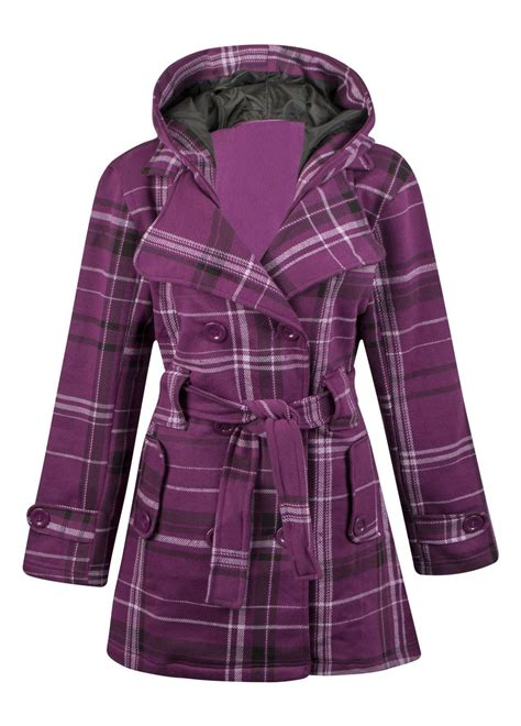 Myu Robot Fleece Jacket womens hooded belted fleece button check plus