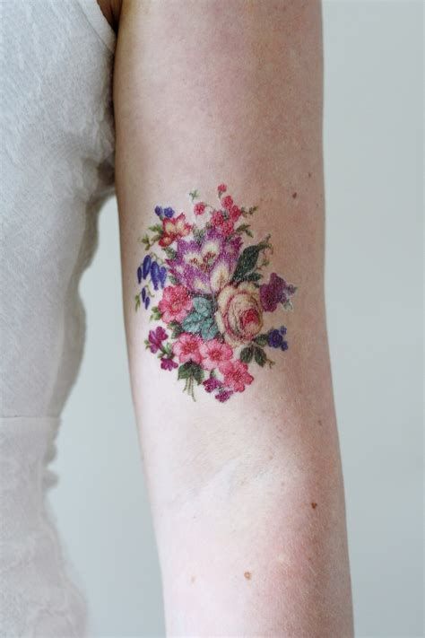 vintage floral tattoo pretty colorful vintage floral temporary