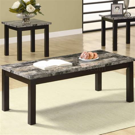 Marble Top Coffee Table Sets Marble Like Top Nut Brown Finish Modern 3pc Coffee Table Set