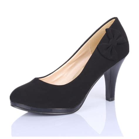 closed toes mid heel bow wedding shoes black