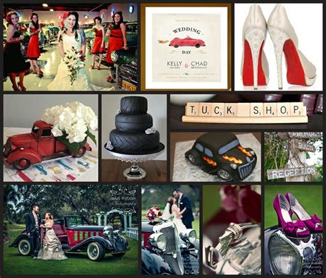 hot car themes classic car themed wedding red black white silver