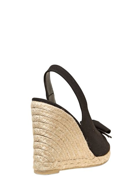 Wedges Black Bow Termurahh lyst castaner 100mm canvas bow sling back wedges in black