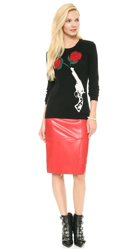 moschino cheap and chic leather skirt in lyst