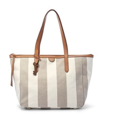 Fossil Tote Pink Stripe 38 fossil handbags nwot fossil sydney shopper tote
