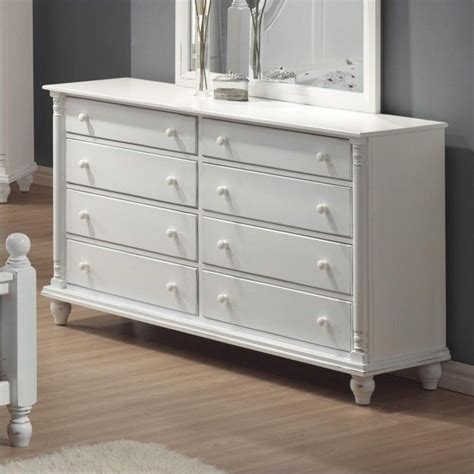 Distressed Dresser White by Coaster 8 Drawer Dresser In Distressed White Finish