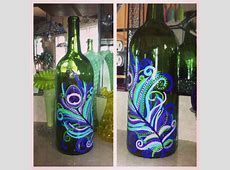 Hand painted peacock feather wine bottle! | DIY ... Hand Painted Wine Glasses Diy