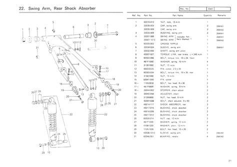 list of swing components kawasaki z650b