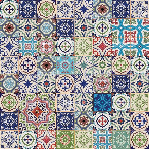 Moroccan Patchwork Tiles - mega seamless patchwork pattern colorful moroccan