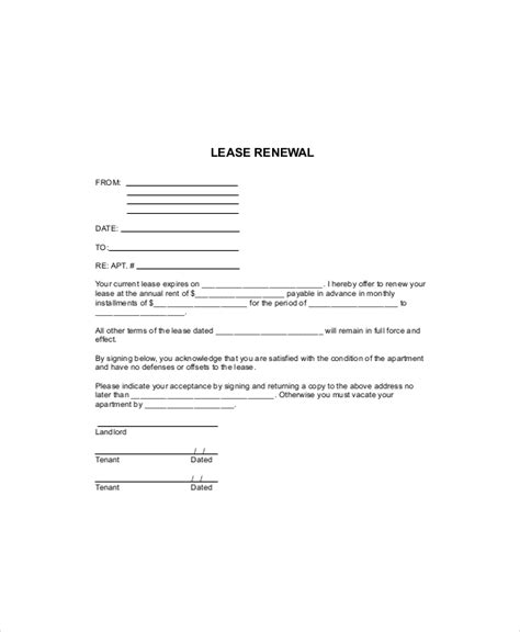 Agreement Extension Letter Format 8 lease renewal templates free sle exle format