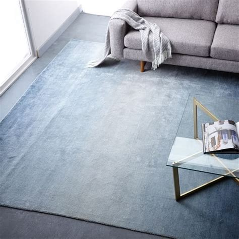 west elm blue rug ombre shine wool rug blue lagoon west elm