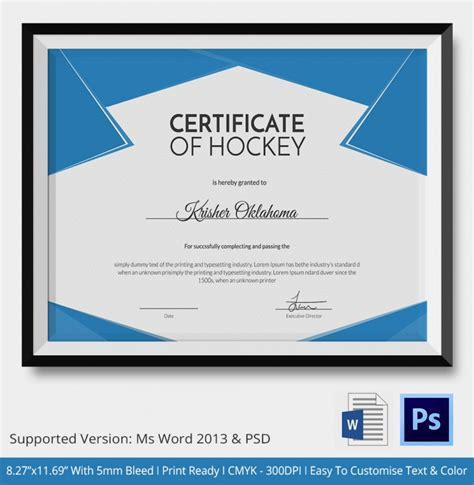 hockey certificate templates 5 hockey certificates psd word designs design trends