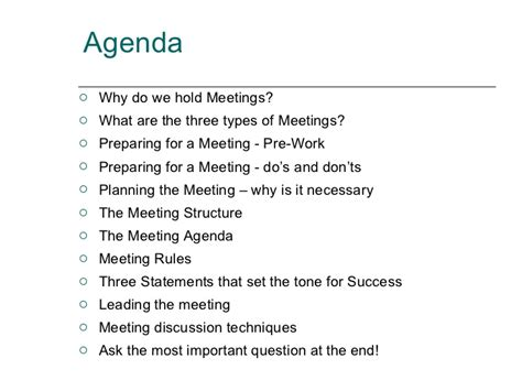 Why Do Company Specify Pre Mba by How To Plan And Lead A Meeting For Maximum Results