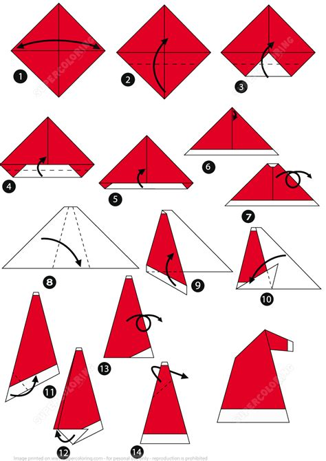 how to make paper folding crafts how to make an origami santa cap step by step