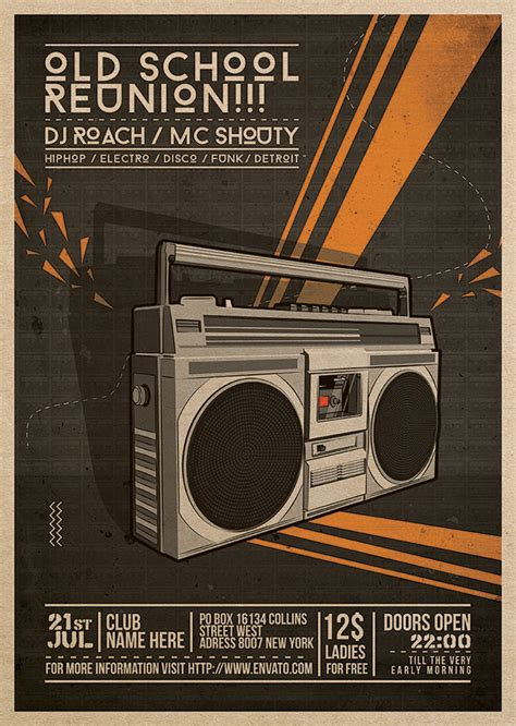 free old school house music downloads flyer poster old school reunion by blercstudio on deviantart
