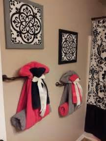 cute way to hang towels for guest bathroom home decorating diy