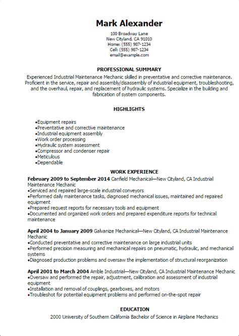 maintenance technician resume sles professional industrial maintenance mechanic resume