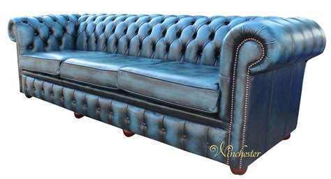 chesterfield settee chesterfield 4 seater settee antique blue leather sofa