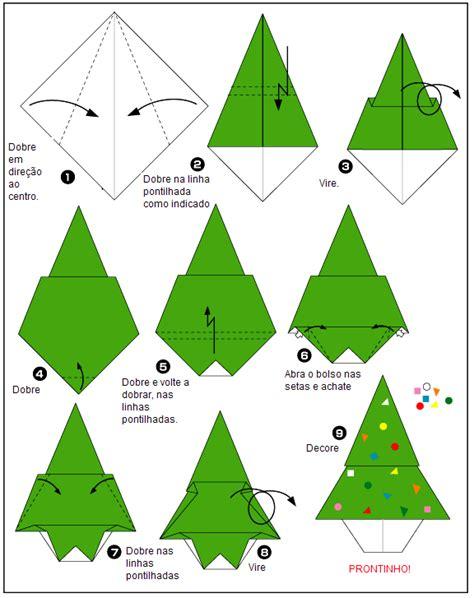 Origami Natal - origami de 225 rvore de natal como fazer origami