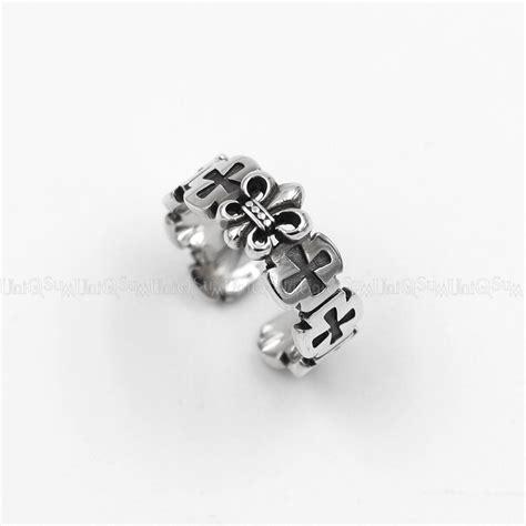 925 Silver Cross Ring fleur de lis charm 925 sterling silver cross ring