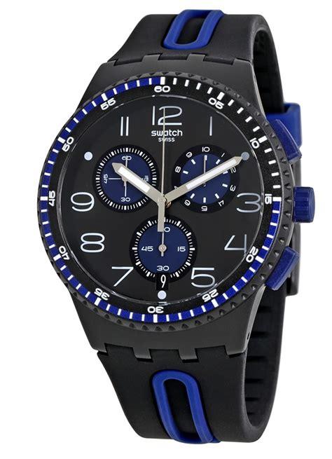 swatch susb406 kaicco blue black chronograph silicone