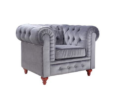 Tufted Living Room Chair Modern Chesterfield Grey Velvet Accent Chair Tufted Buttons Style Living Room Ebay