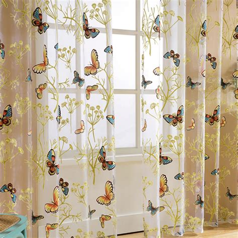 butterfly valance curtains door window floral butterfly sheer curtains voile tulle