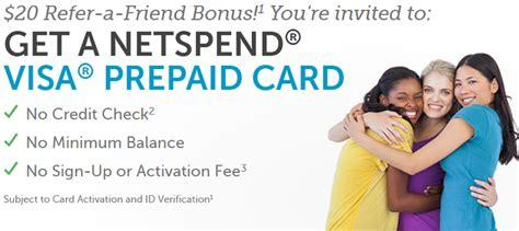 Can You Refill A Visa Gift Card - netspend visa prepaid card 20 referral bonus