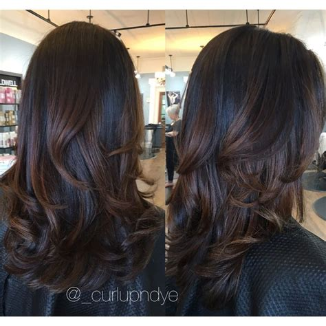 black hair with chocolate brown highlights balayage highlights on dark brown hair brown hairs