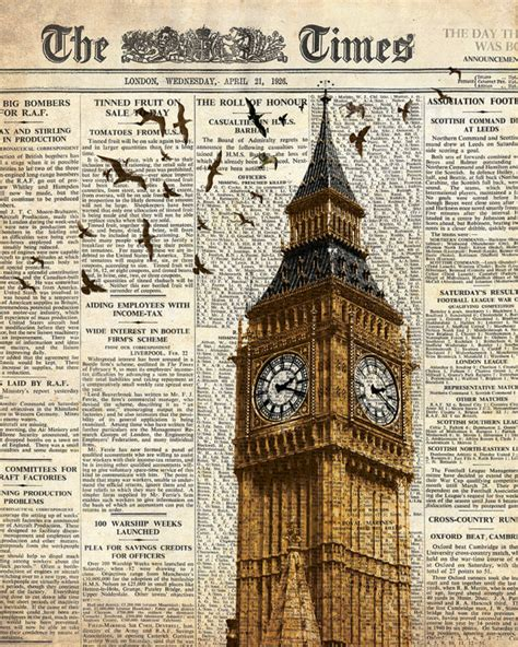 decoration articles big ben and birds on newspaper london wall art decoration