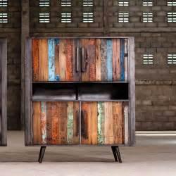 meuble de rangement teck et m 233 tal style industriel