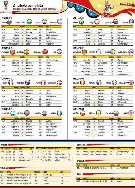 confira e imprima a tabela da copa do mundo 2018