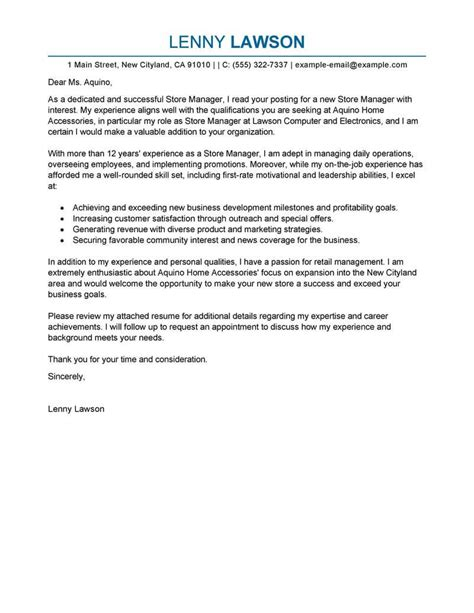 Back Office Manager Cover Letter by Best Store Manager Cover Letter Exles Livecareer