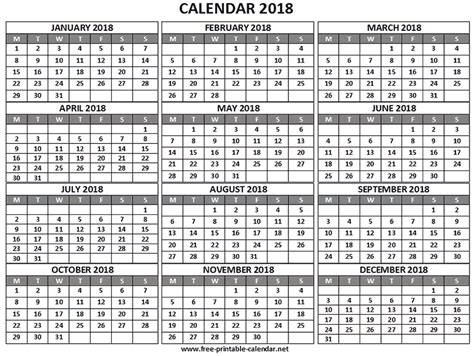 printable yearly calendar 2018 year 2018 calendar download print calendars from free