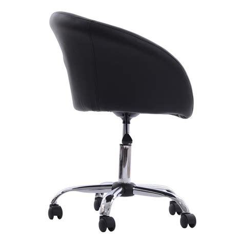 Accent Chair With Wheels Homcom Modern Faux Leather Swivel Accent Tub Chair W Wheels Black