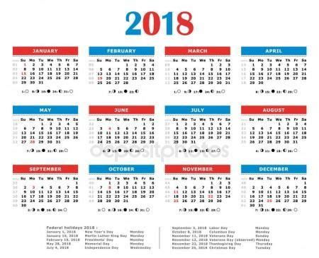 calendario del luna calendario del a 241 o 2018 colores americano d 237 as feriados