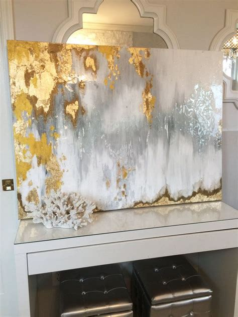gold abstract painting gold leaf white ombre and abstract on