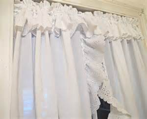 White Cotton Eyelet Curtains White Organza Eyelet Priscilla Curtains Pair Ruffled Tie Back