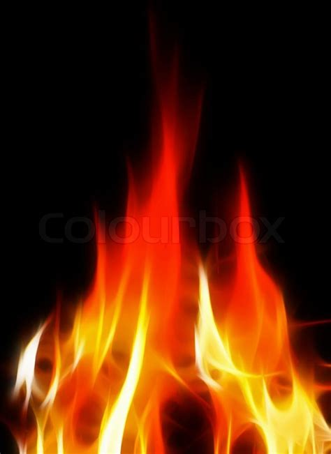 red hot fire bright and hot fire on black background stock photo