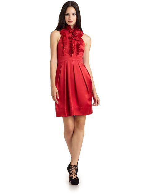 Satin Ruffles Dress bcbgmaxazria silk satin ruffle halter dress in lyst