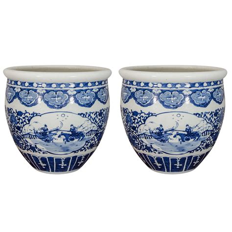 pair of blue and white porcelain fish bowl