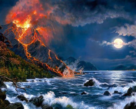 eruption  volcano sea full moon fantasy art hd wallpaper
