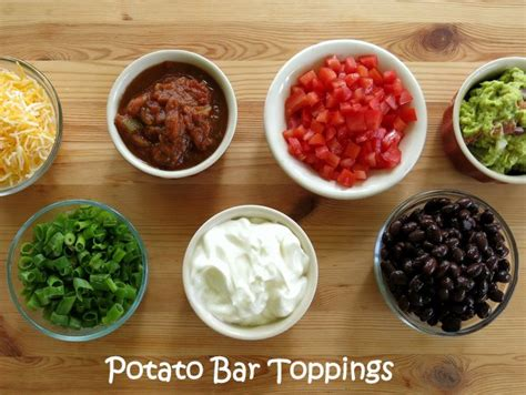 Potato Bar Toppings Idea by Baked Potato Bar Recipes Dishmaps