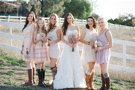 country style bridesmaids dresses outdoor wedding country western footwear pastel