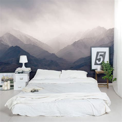 wall paintings in bedroom misty mountains wall mural