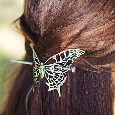 Butterfly Hair Stick oberon design britannia metal hair stick butterfly http