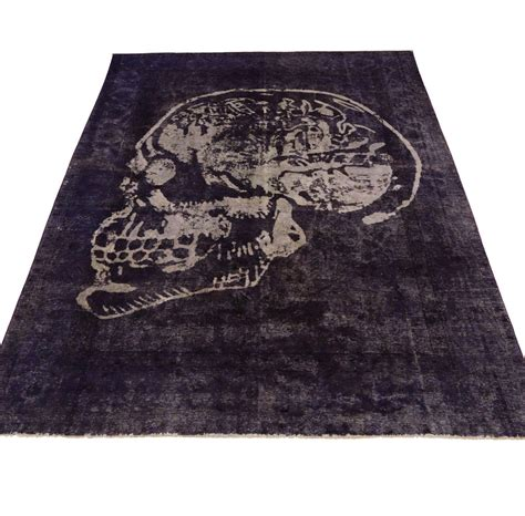 skull rugs vintage tabriz rug overdyed with skull design at 1stdibs