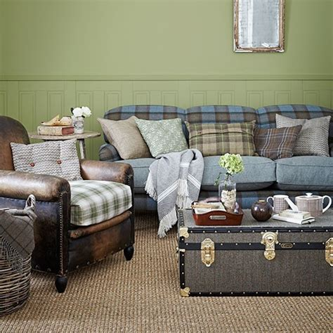 Blue Country Living Room by Green And Blue Check Country Living Room Living Room